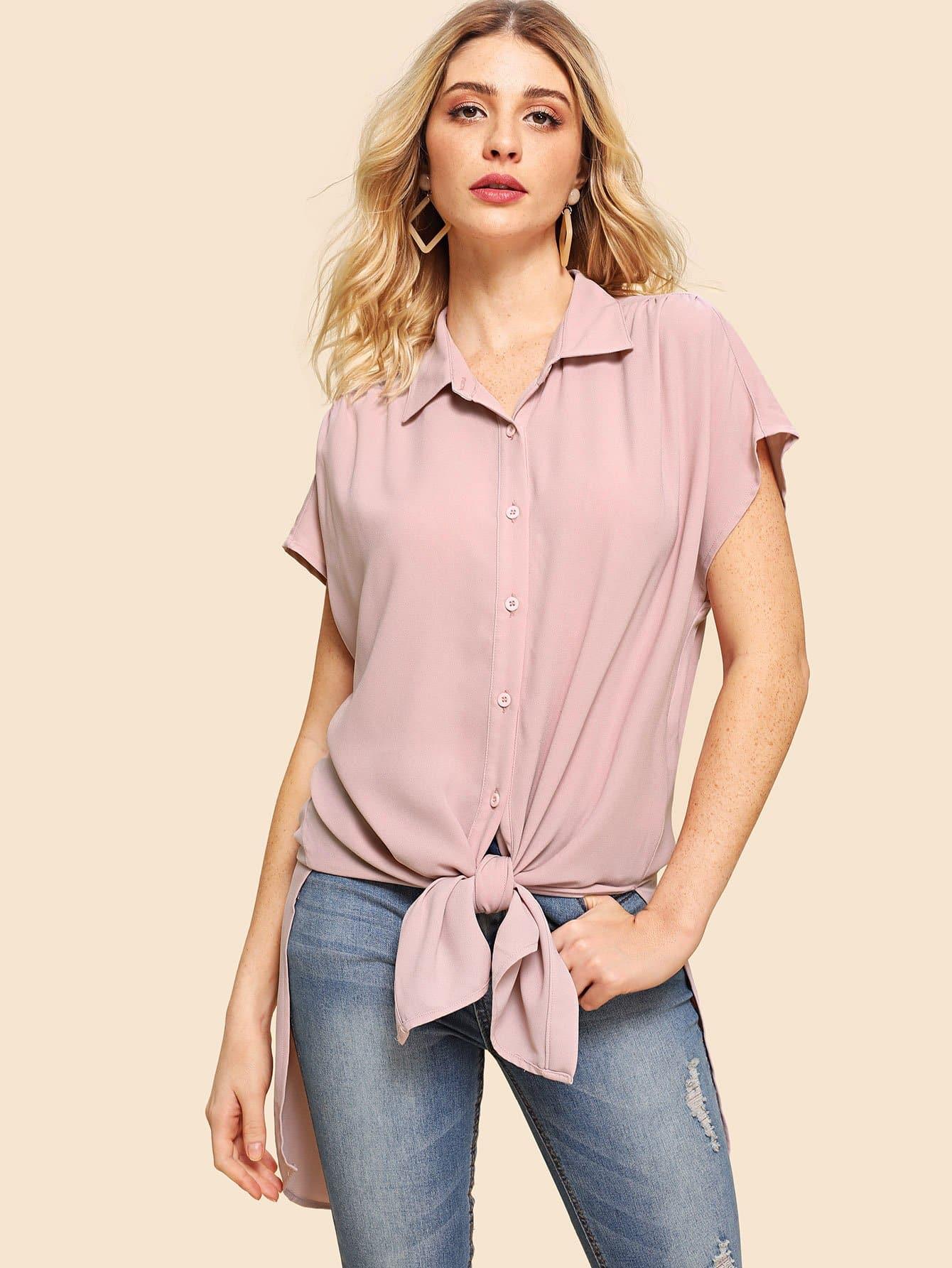 Купить Slit Curved Dip Hem Knotted Shirt, Nathane, SheIn