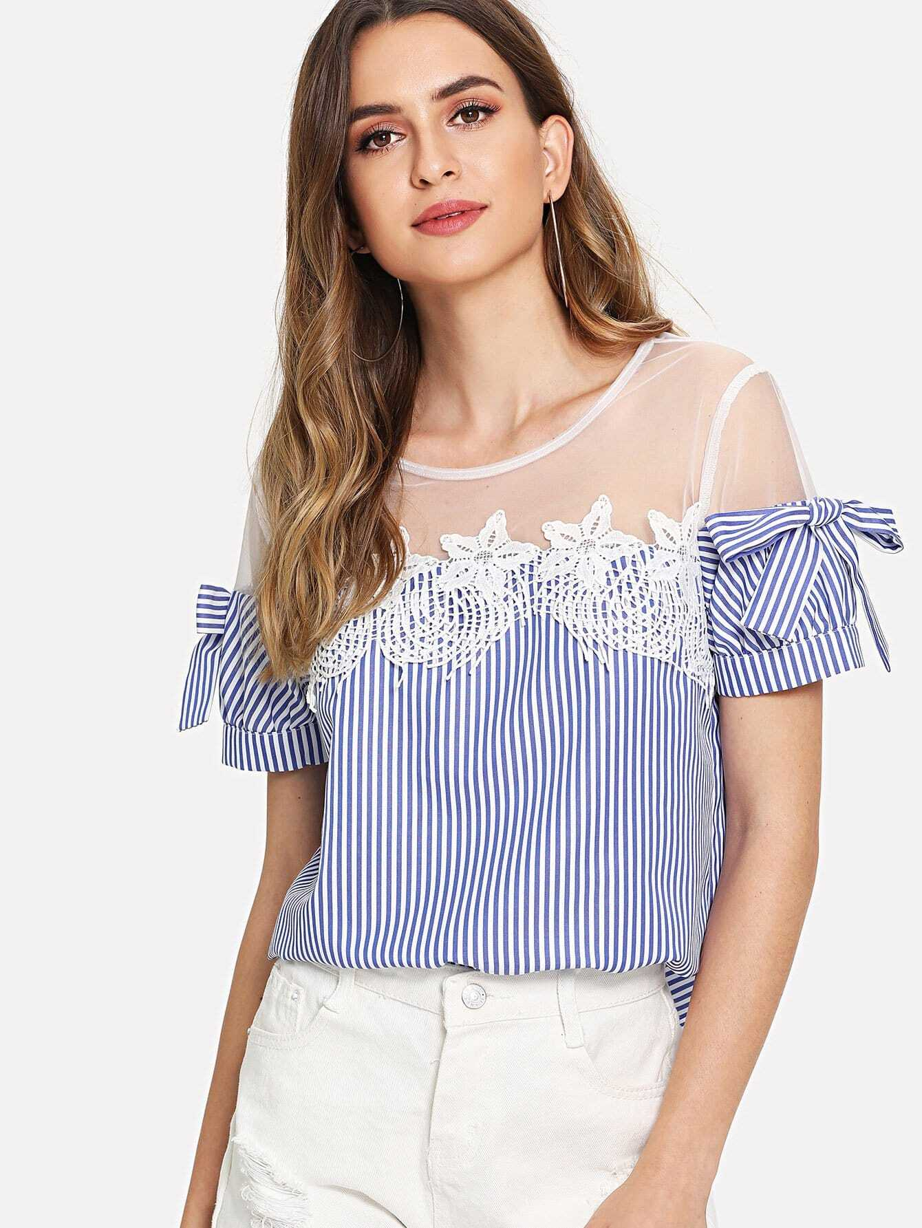Mesh Shoulder Lace Applique Bow Detail Striped Top mesh shoulder lace applique bow detail striped top