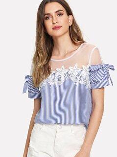 Mesh Shoulder Lace Applique Bow Detail Striped Top