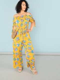 a311bcf2f9a77 Plus Off Shoulder Self Belted Floral Jumpsuit