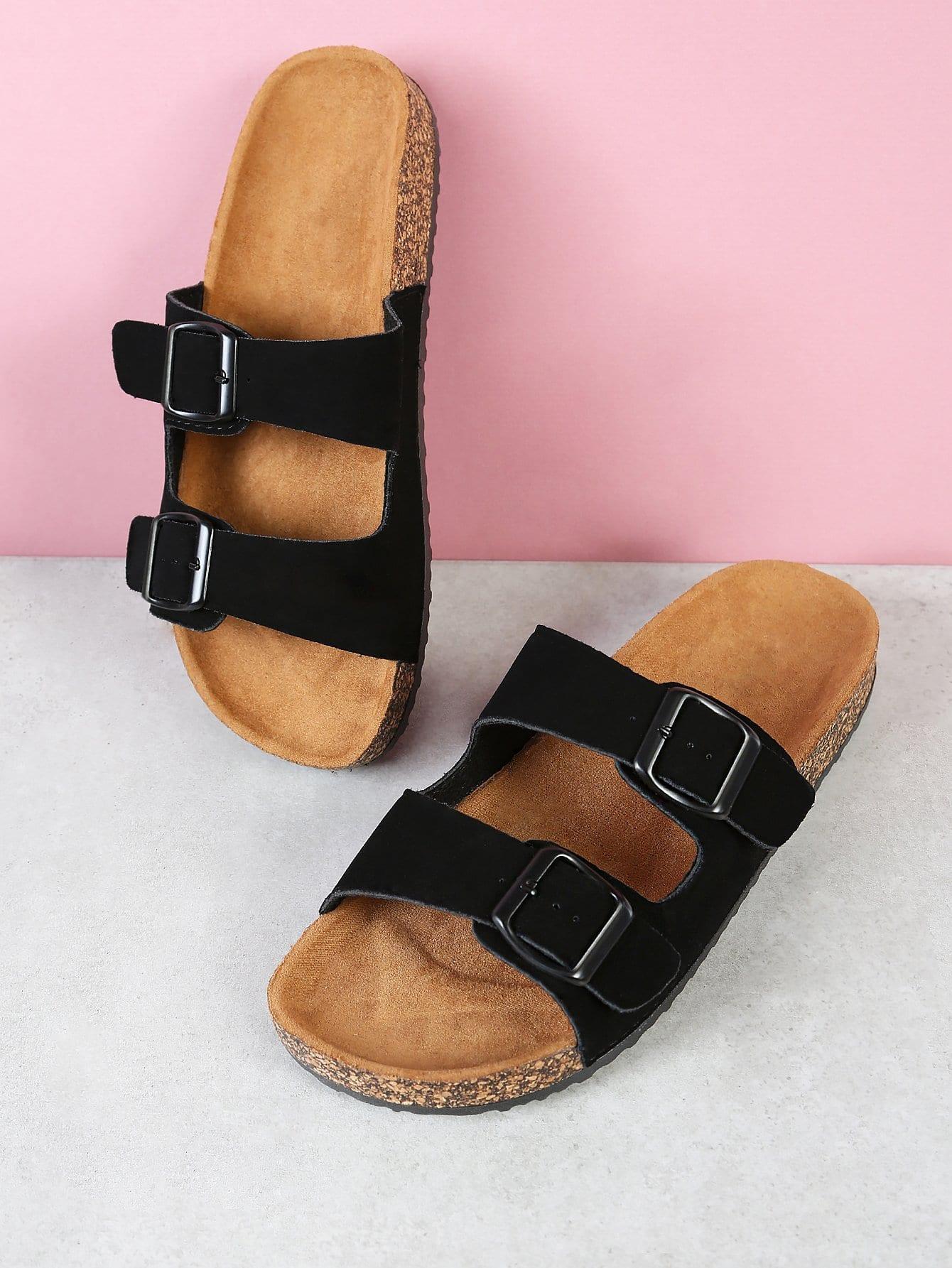 Cork Footbed Double Buckle Flatform Sandal BLACK double band slide sandal black