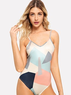 Colorblock Backless Cami Bodysuit