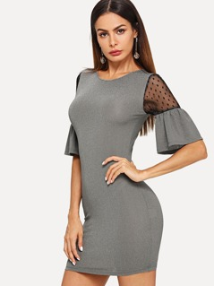Mesh Contrast Bell Sleeve Bodycon Dress