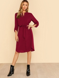 Roll Tab Sleeve Belted Shirt Dress