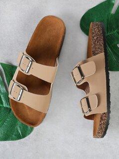 Buckle Strap Cork Footbed Flatform Sandal TAUPE