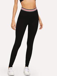 Waist Striped Skinny Leggings
