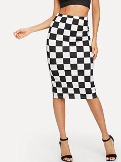 Split Back Plaid Skirt