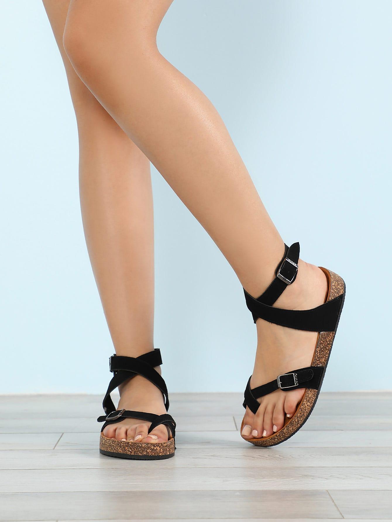 Купить Крест-крест, обвязанный Cork Footbed Sandal BLACK, null, SheIn