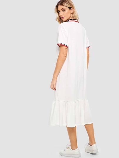 SheIn / Pep Hem Striped Midi Polo Dress