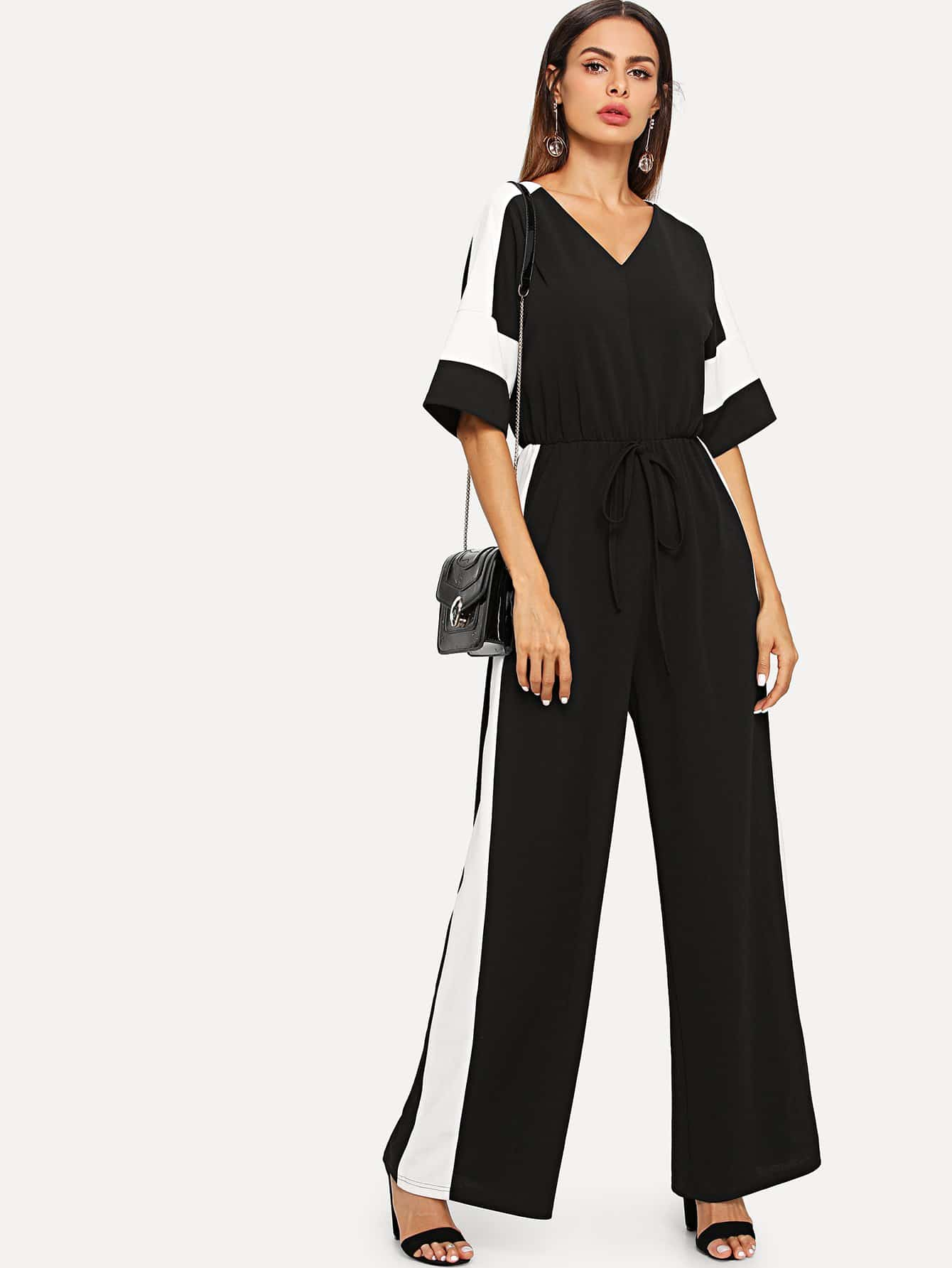 Knot V Cut Back Drawstring Waist Colorblock Jumpsuit mixed print colorblock knot back halter dress