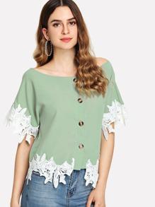 Contrast Lace Button Front Blouse