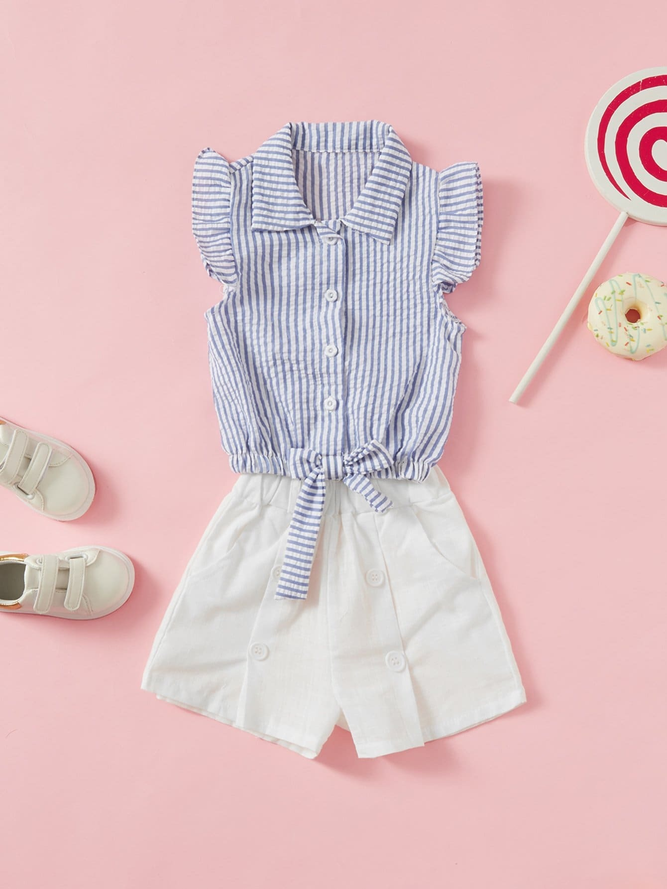 Kids Knot Striped Blouse With Button Decoration Plain Shorts men button decoration plain tee
