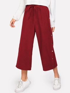 Button Side Drawstring Culotte Pants