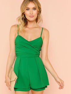 Wrap Front Box Pleated Cami Romper