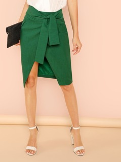 Tie Waist Split Front Solid Skirt
