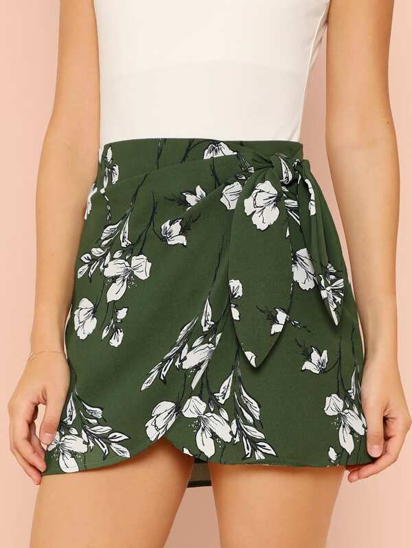 Floral Print Wrap Mini Skirt by Sheinside