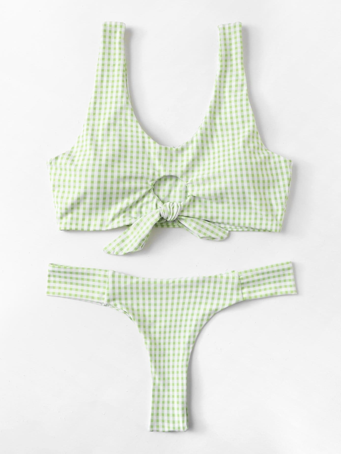 Gingham Knot Front Bikini Set knot front gingham top
