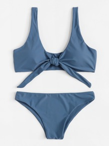 Knot Front Plain Bikini Set