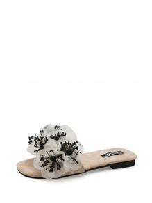 3D Flower Applique Flat Slippers