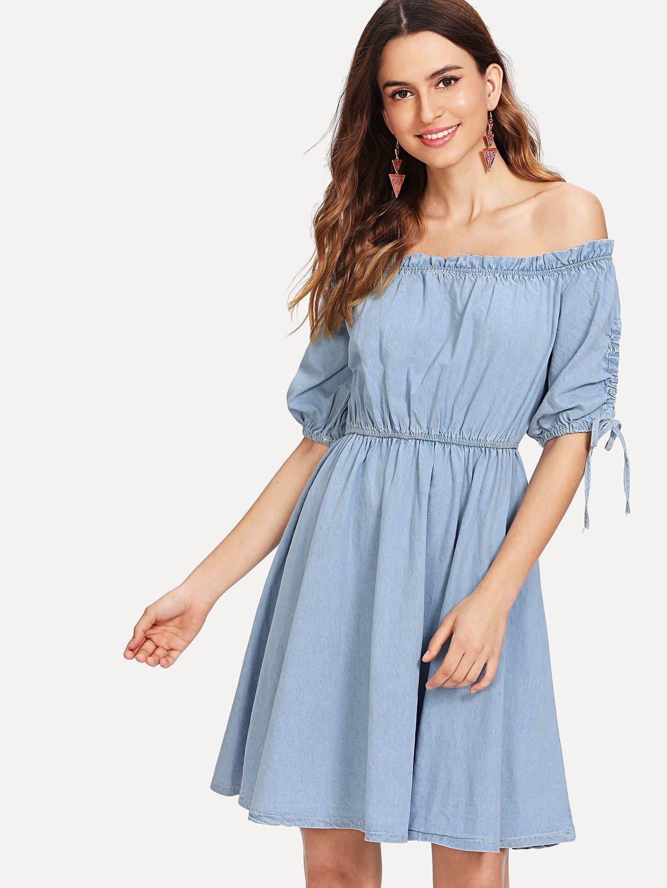 Off-Shoulder Elastic Waist Denim Dress elastic waist button denim dress