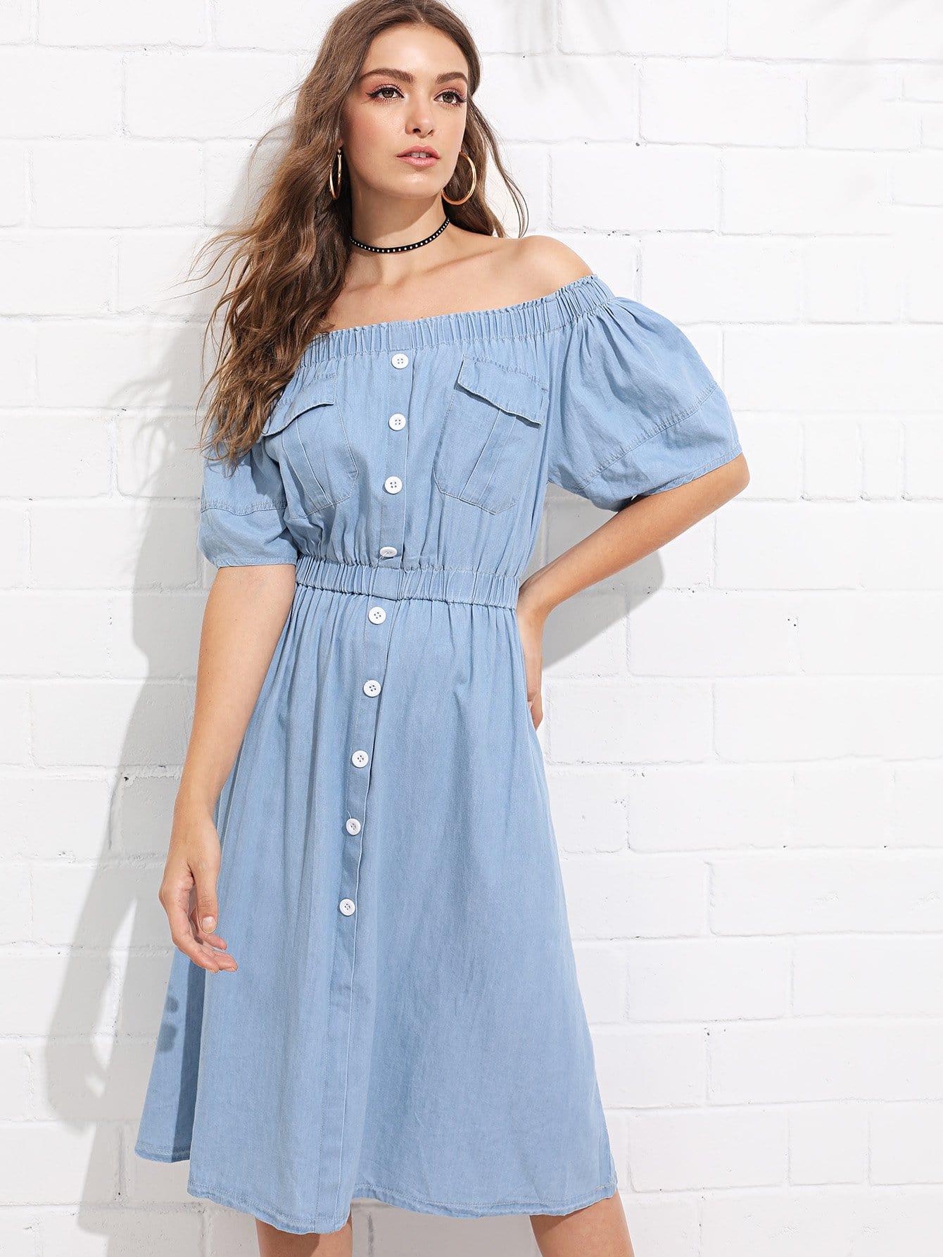 Off-Shoulder Button Front Elastic Waist Denim Dress elastic waist button denim dress