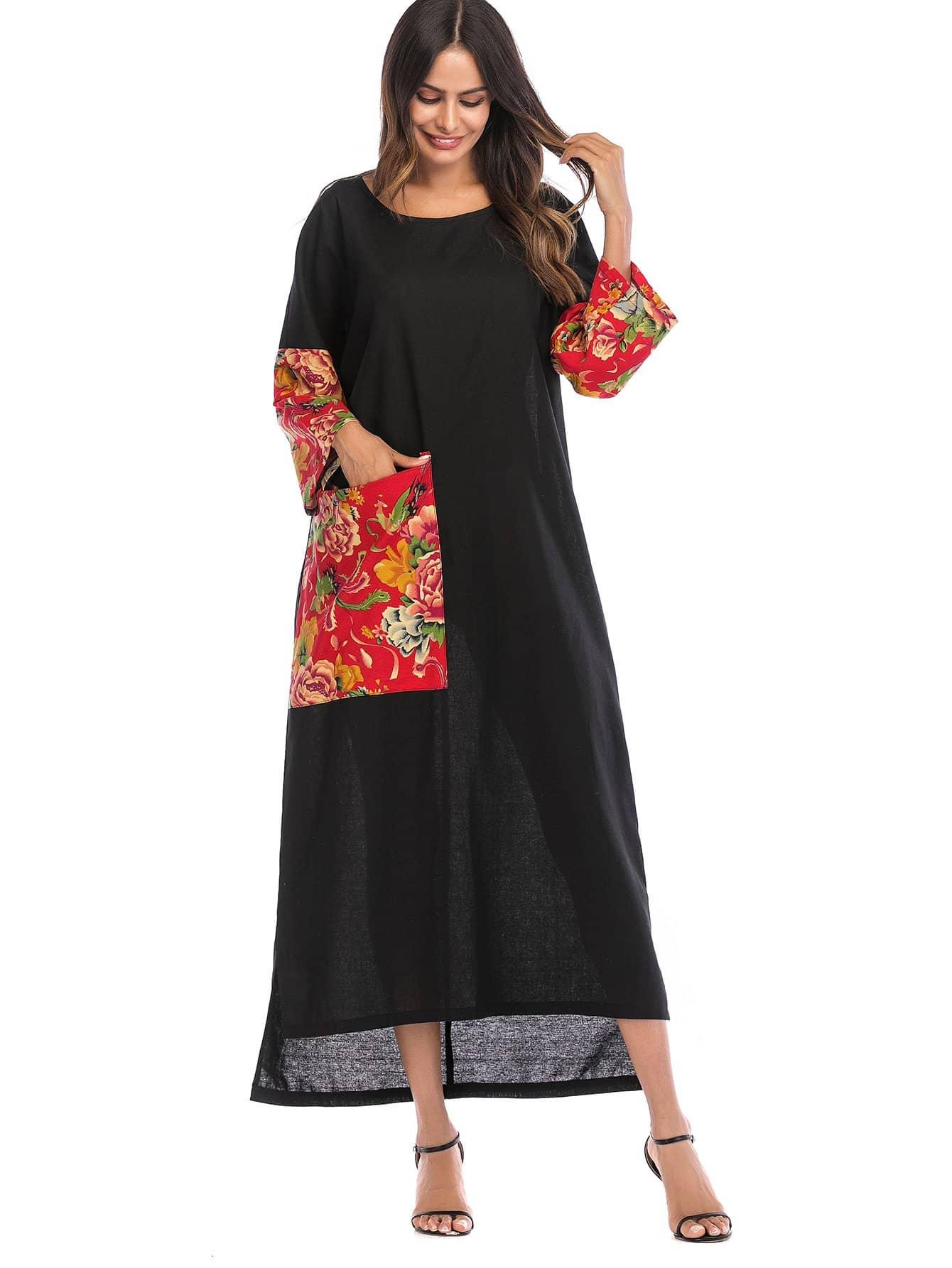 Купить Цветочные печати контраст карманное платье, null, SheIn