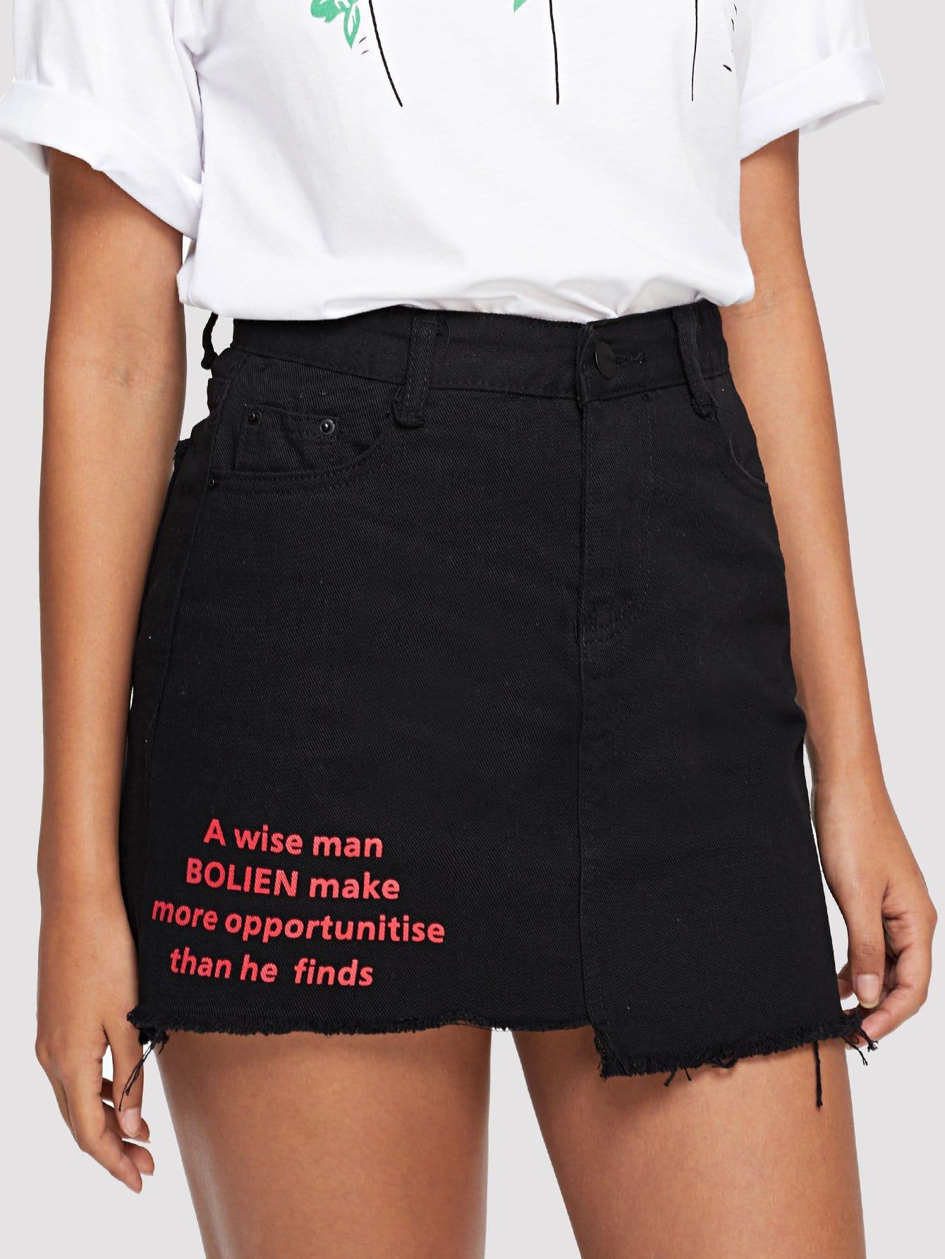 Raw Hem Letter Print Denim Skirt girls single breasted raw hem skirt