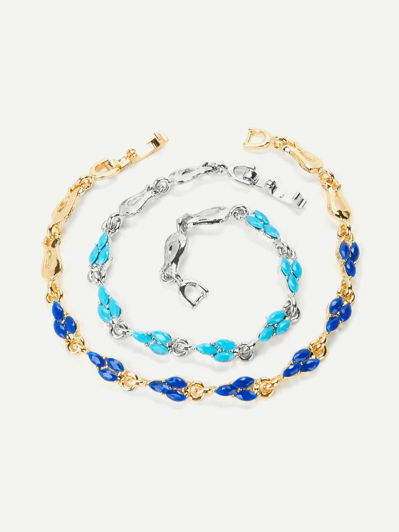 Gemstone Chain Bracelet 2pcs