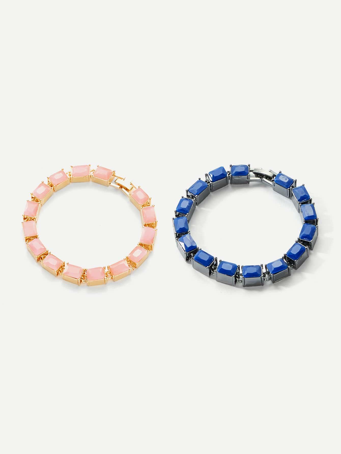 Gemstone Beaded Bracelet 2pcs dull polished mixed beaded bracelet