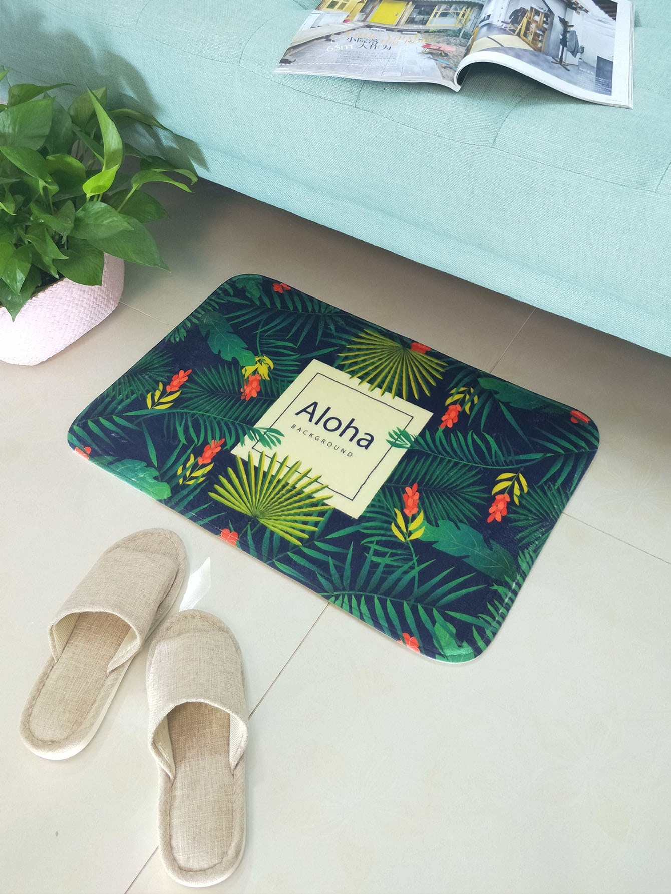 Tropical Leaves Door Mat tropical leaves print tapestry