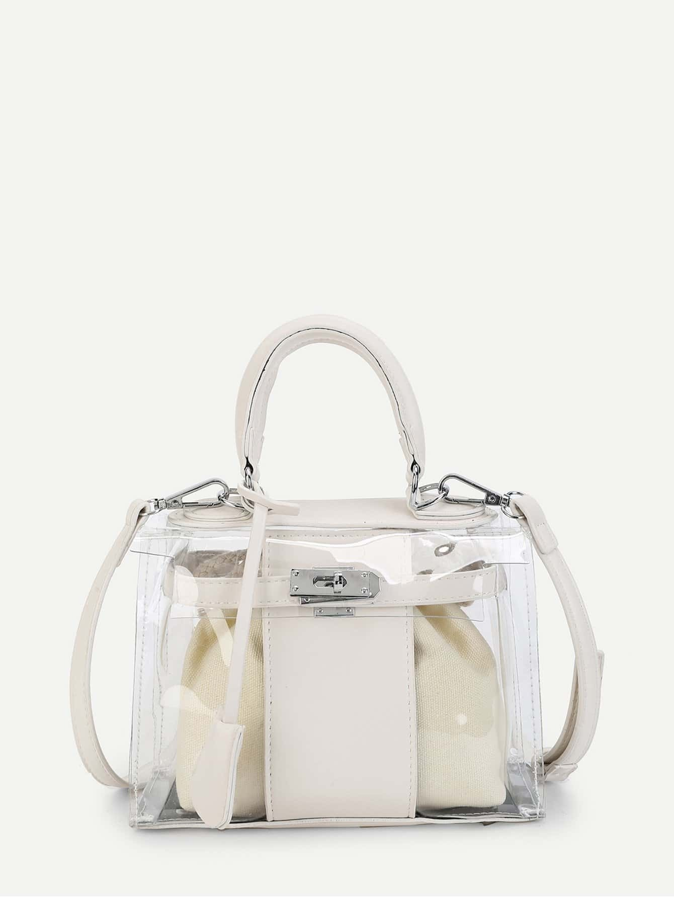 Clear Crossbody Bag With Inner Pouch clear wood handle bag with sequin pouch