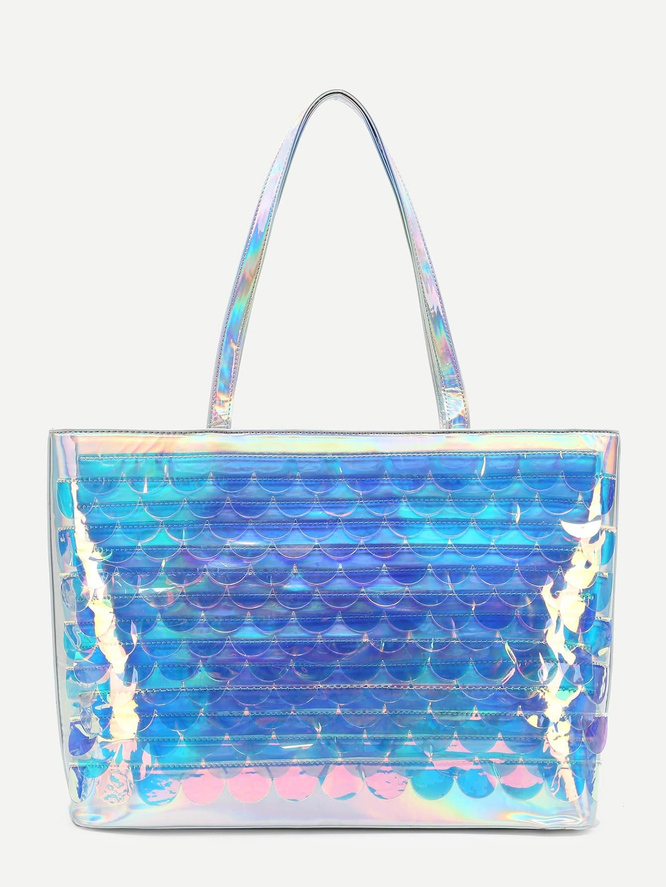 Scale Pattern Iridescent Tote Bag iridescent tote bag