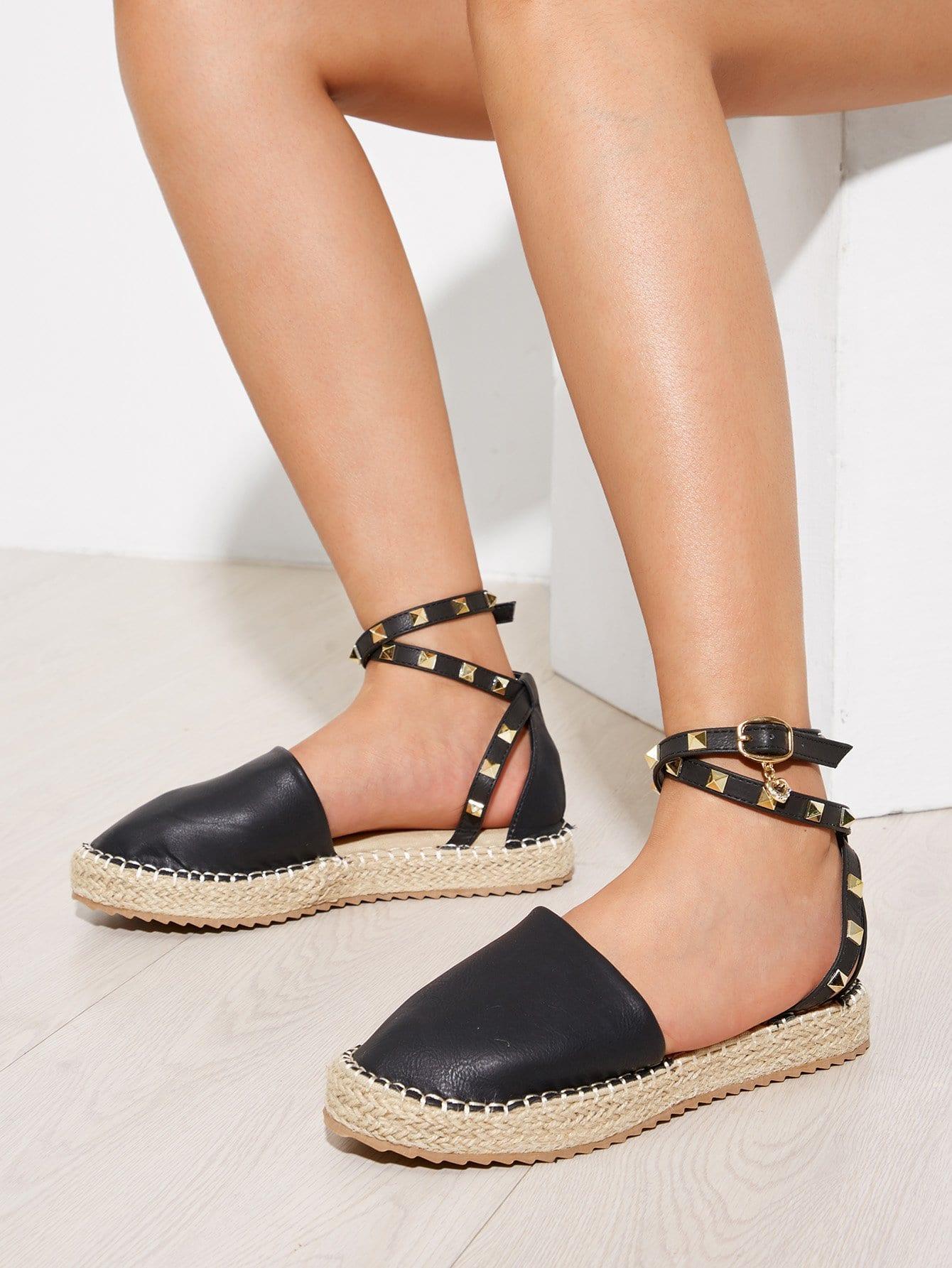 Tie Leg Round Toe PU Flats pointed toe tie leg flats
