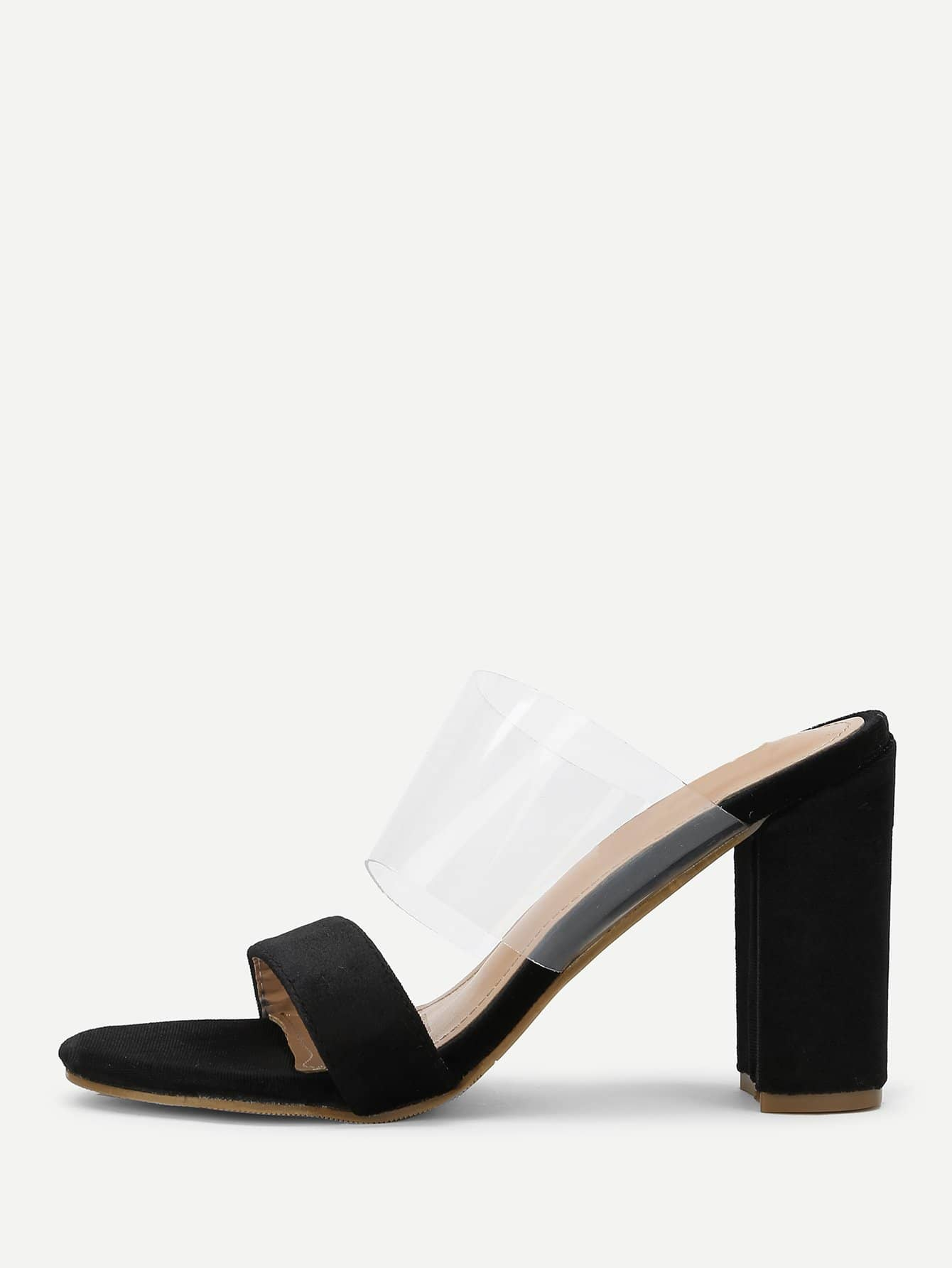 Купить Прозрачный дизайн Peep Toe Heels, null, SheIn