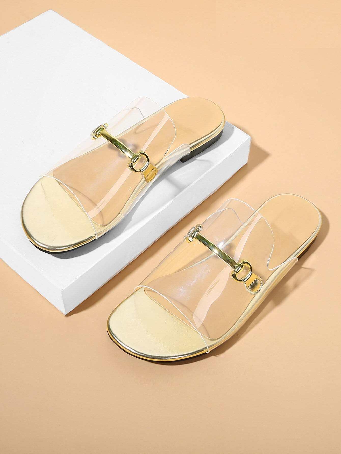 Купить Плоские сандалии с металлическими деталями, null, SheIn
