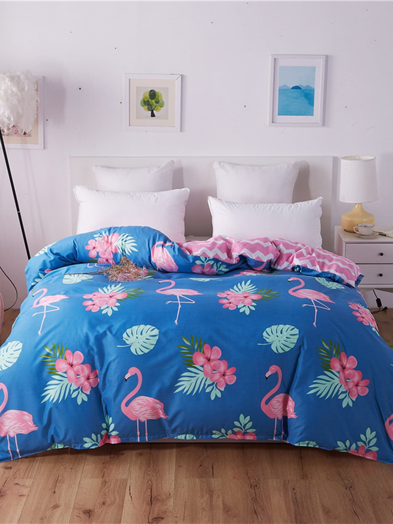 Flamingos Print Duvet Cover