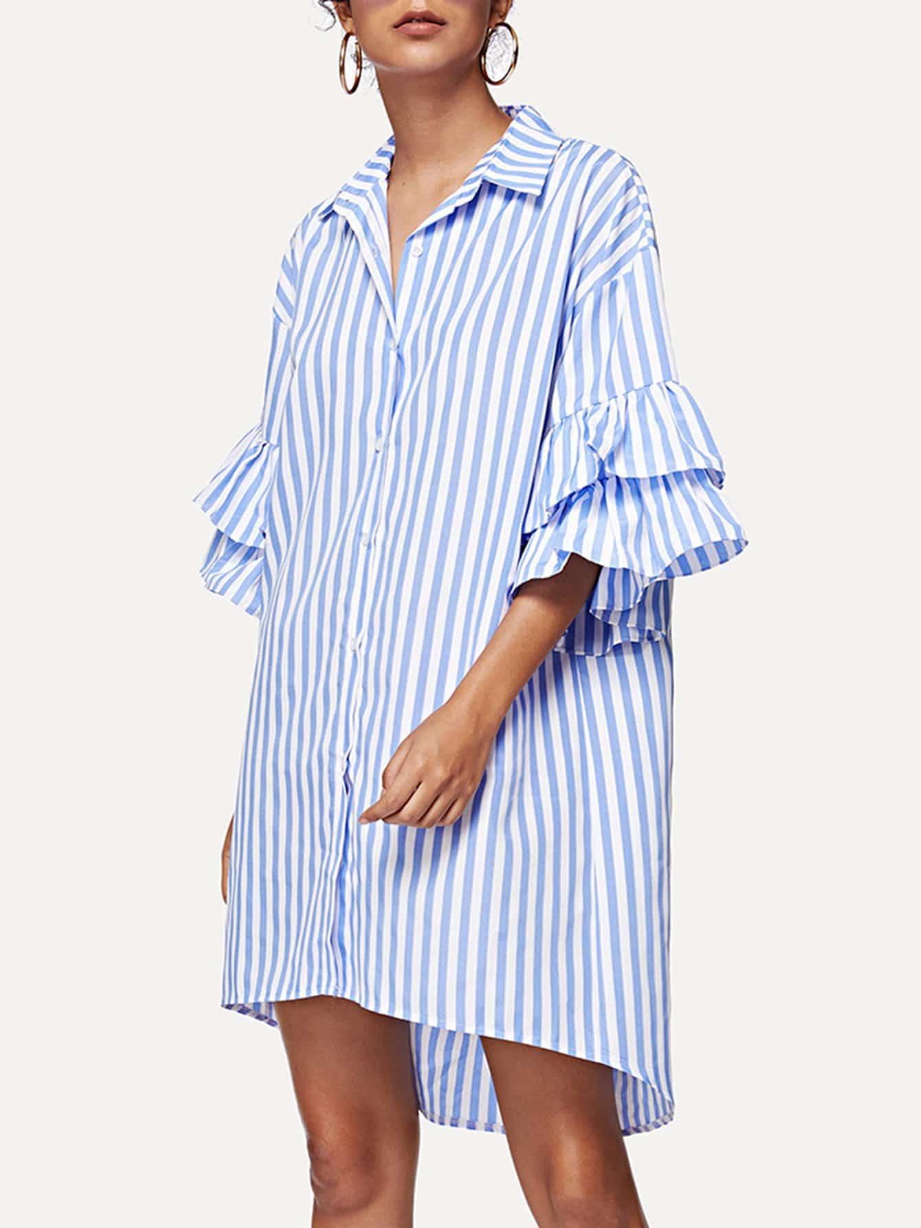 Fluted Sleeve Striped Dip Hem Dress striped sleeve ruffle dip hem dress