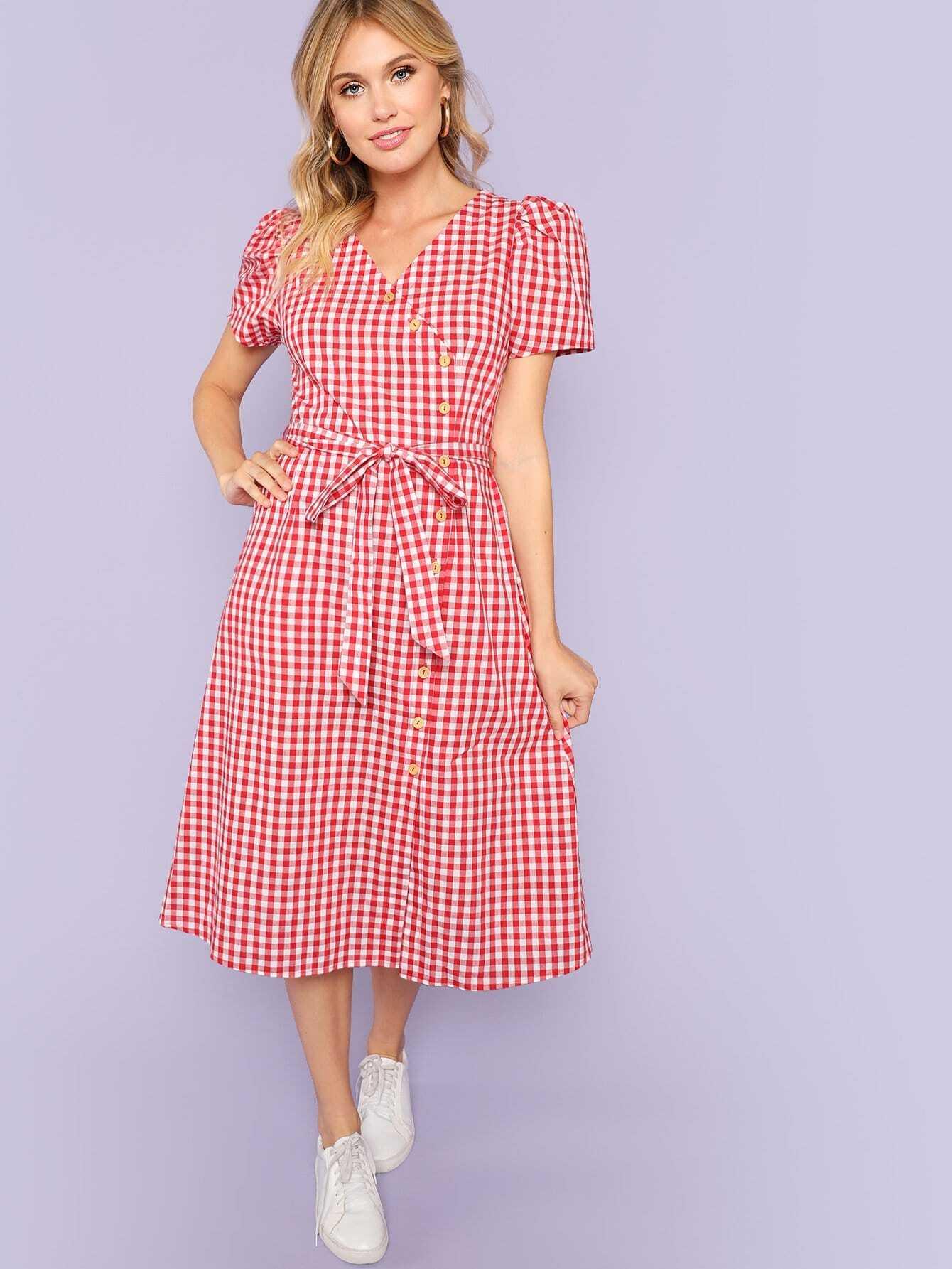 Купить Roll Up рукав кнопки вверх повязкой плед платье, Noelle Brown, SheIn
