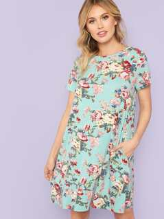 Flower Print Box Pocket Dress