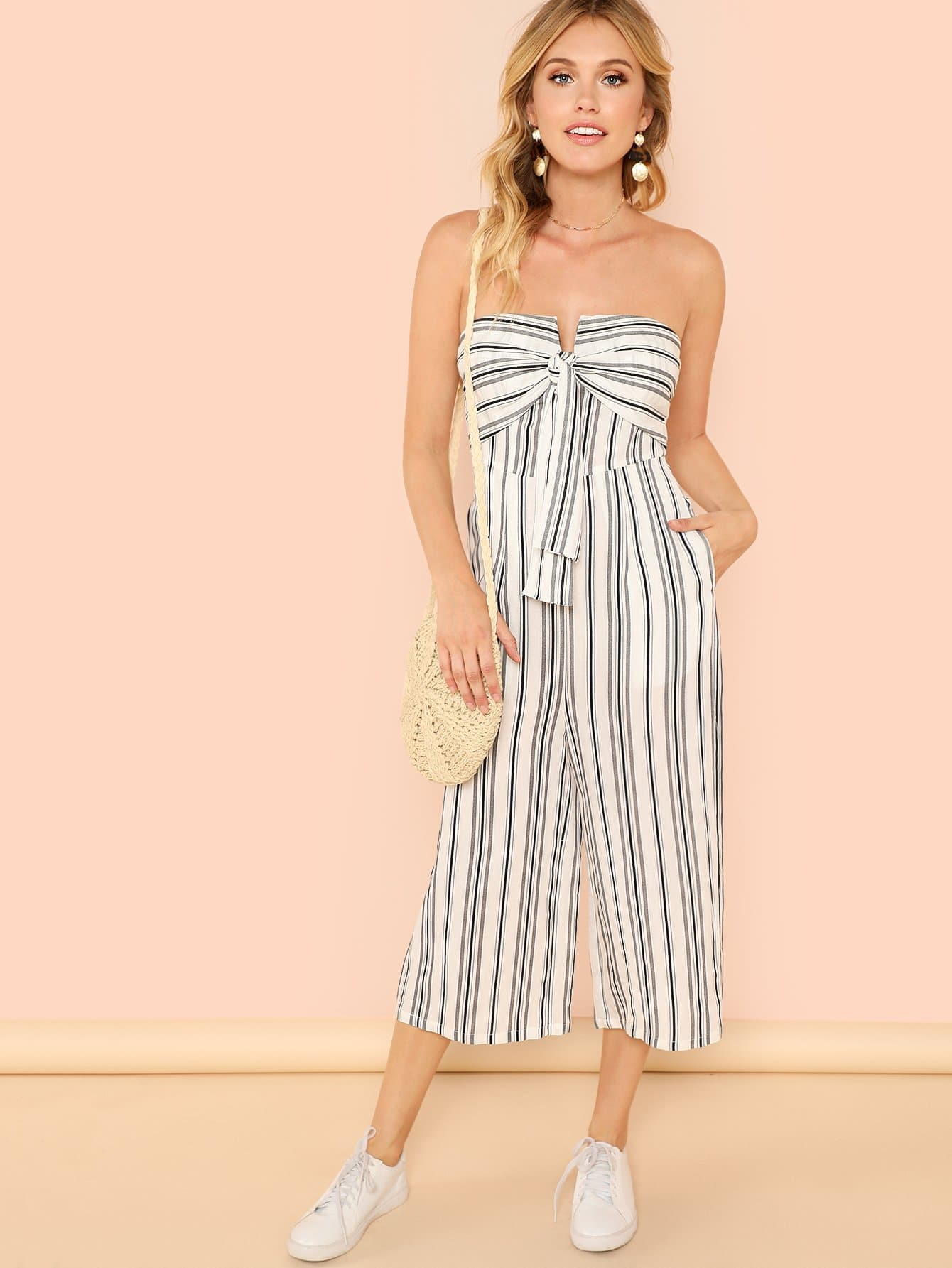 Knot Front Wide Leg Striped Strapless Jumpsuit striped backless wide leg jumpsuit