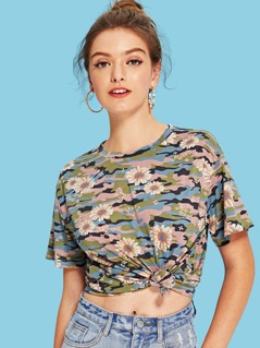 Camo and Flower Print T-Shirt