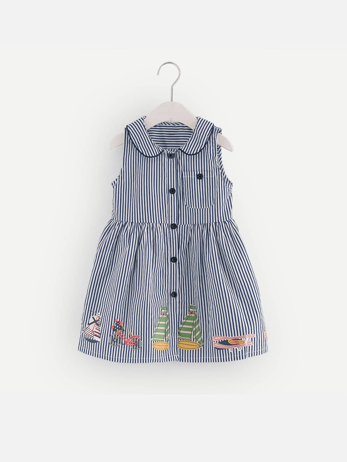 Girls Single Breasted Graphic Print Striped Dress