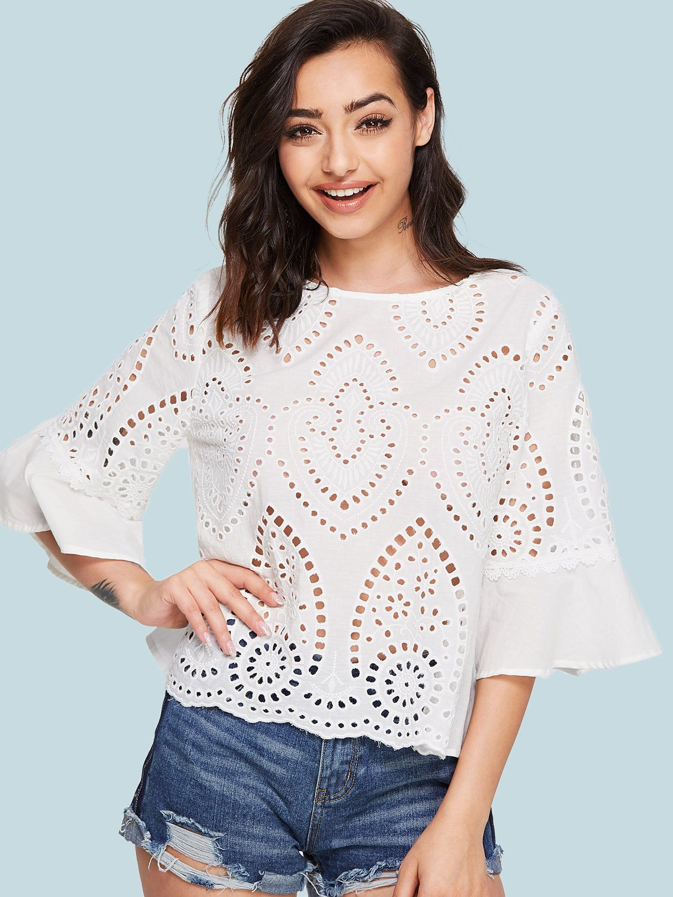 Trumpet Sleeve Eyelet Embroidered Top flower embroidered trumpet sleeve top