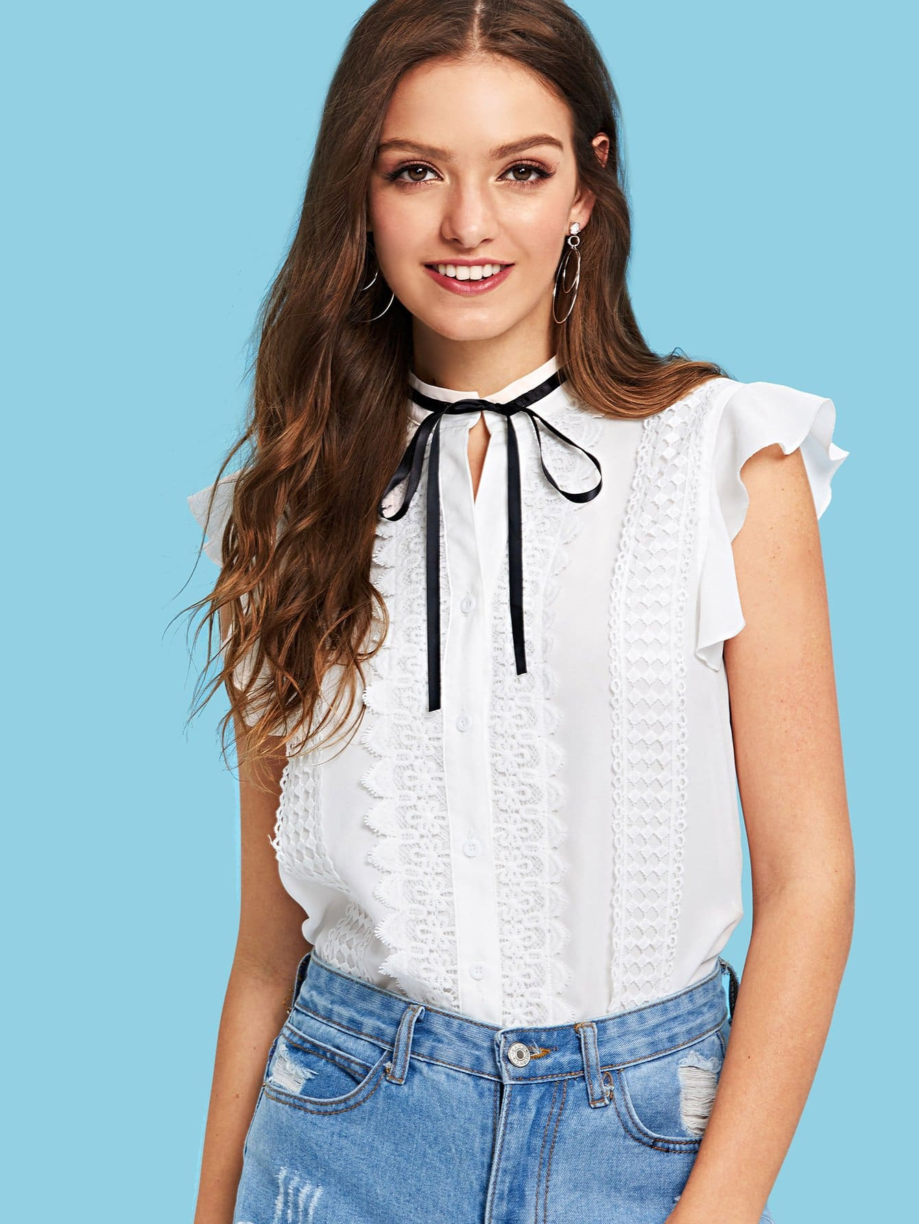 Tied Neck Ruffle Detail Mock Top
