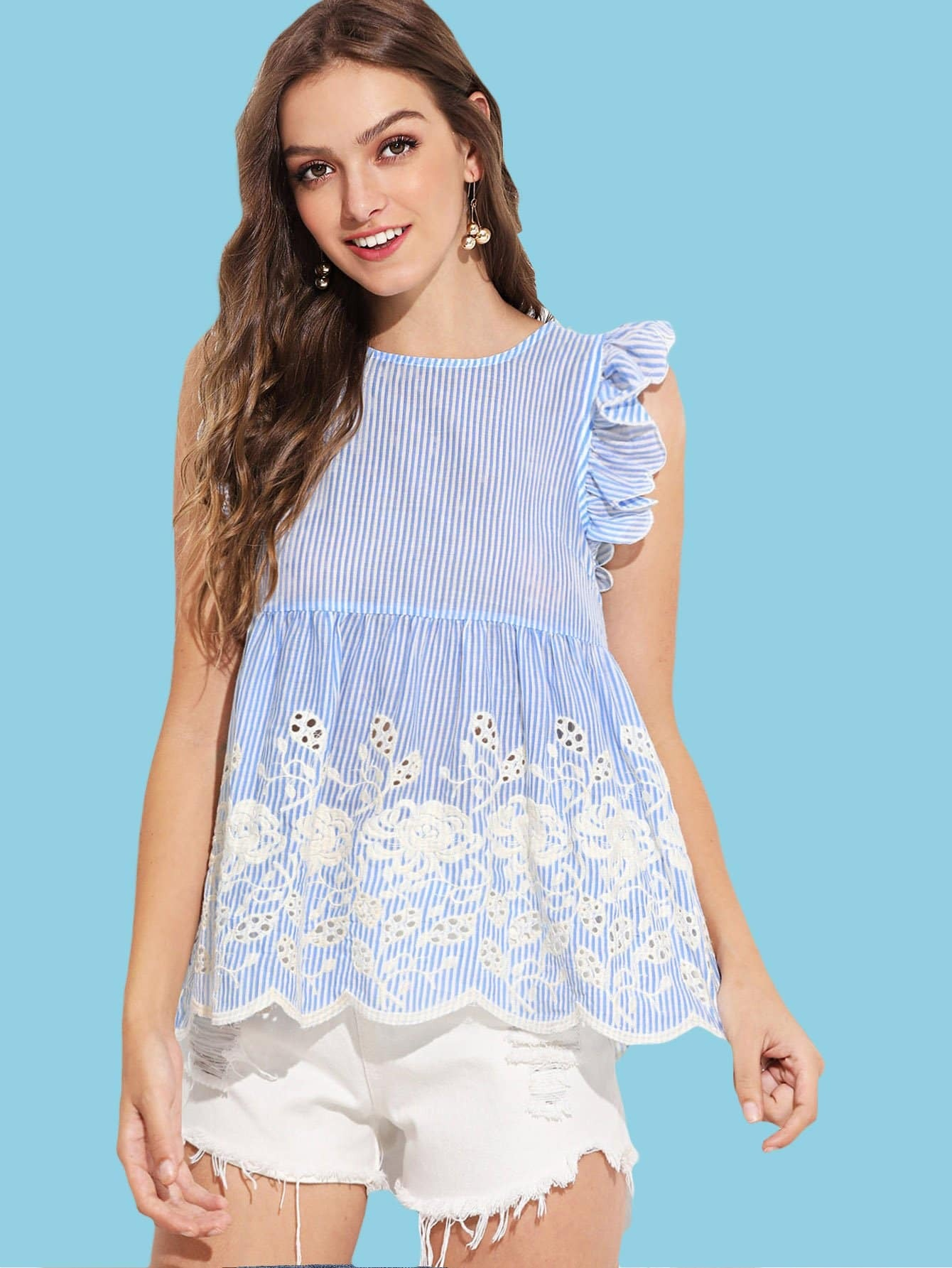 Ruffle Trim Eyelet Embroidered Striped Top mock neck eyelet embroidered ruffle top