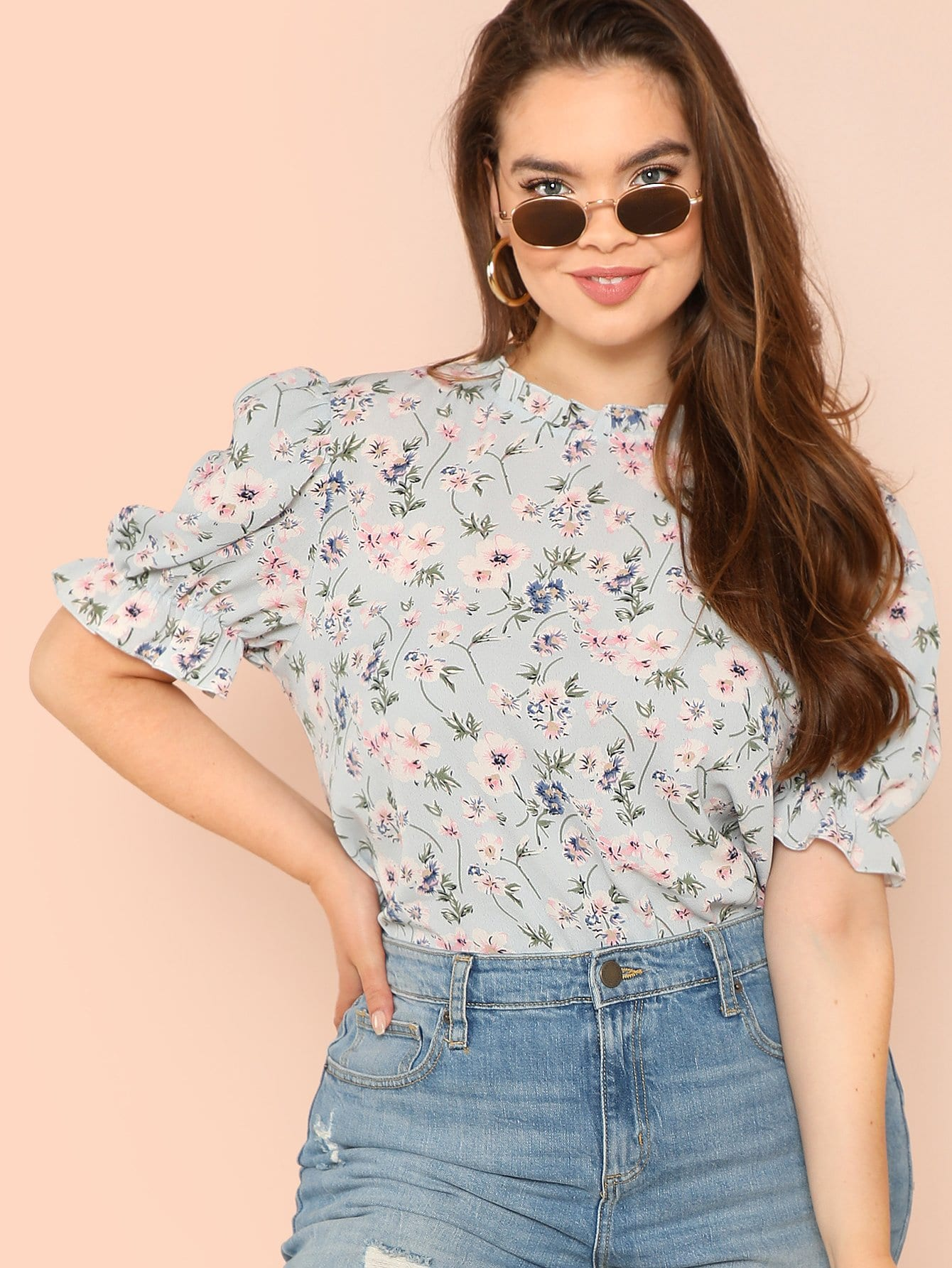 Plus Mock Neck Ruffle Cuff Floral Top plus mock neck lantern sleeve smock floral top