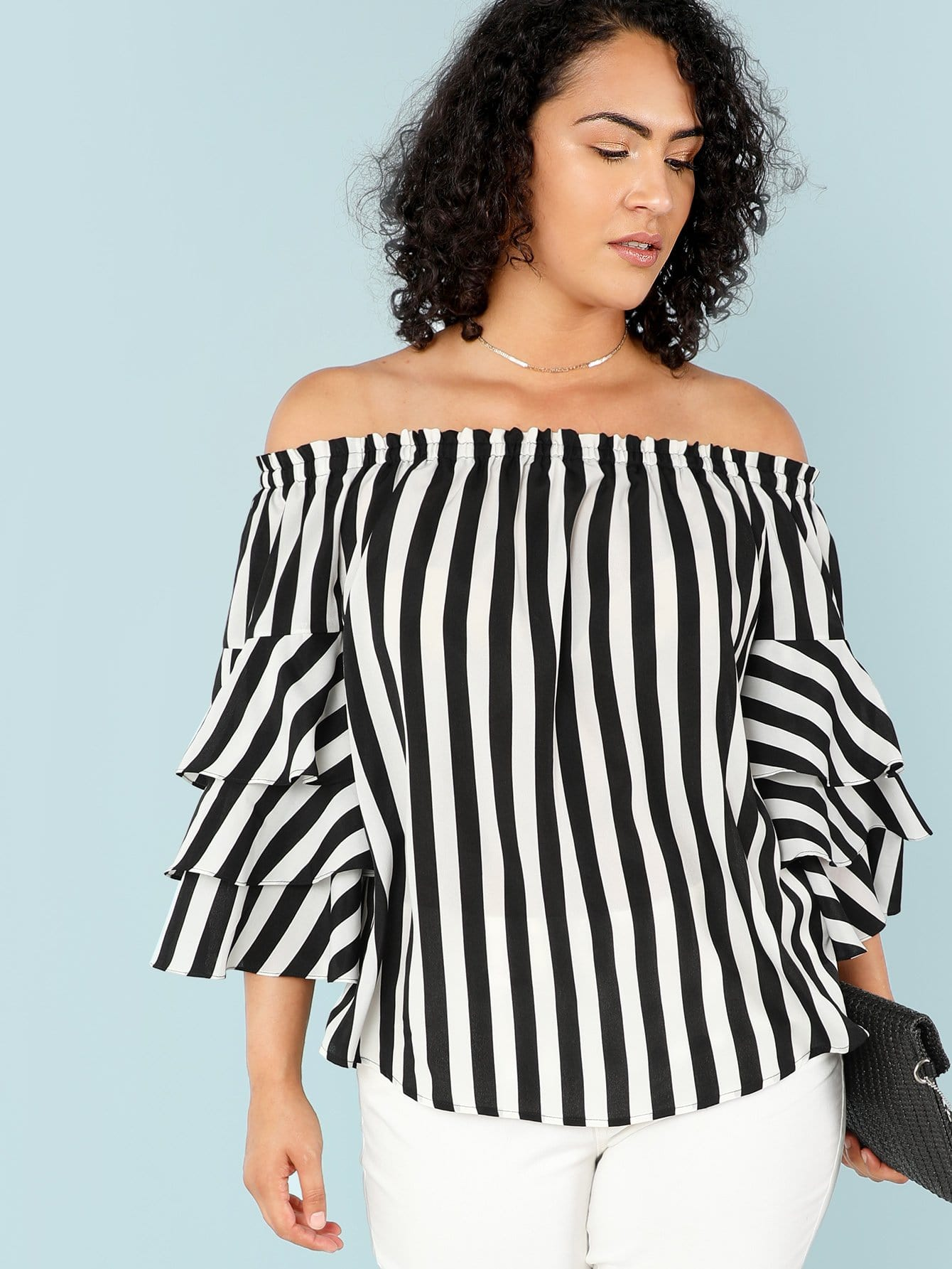Layered Flounce Sleeve Off Shoulder Striped Top floral lace shoulder layered flounce top
