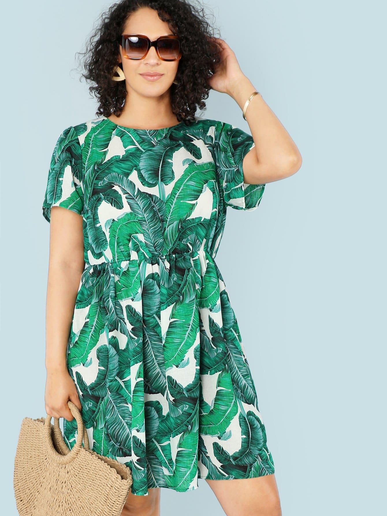 Купить Платье с эластичной талией из листьев джунглей, Brianna Ruiz, SheIn