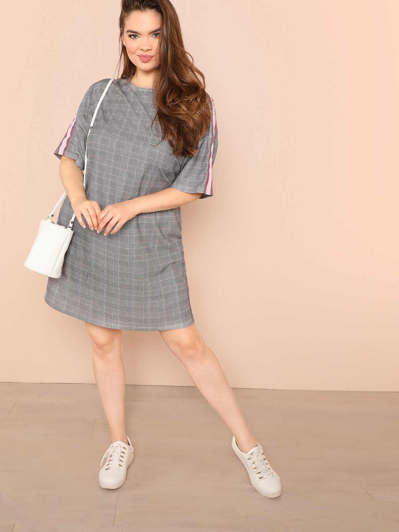 Plus Plaid Print Dress plus pom pom hem cover up