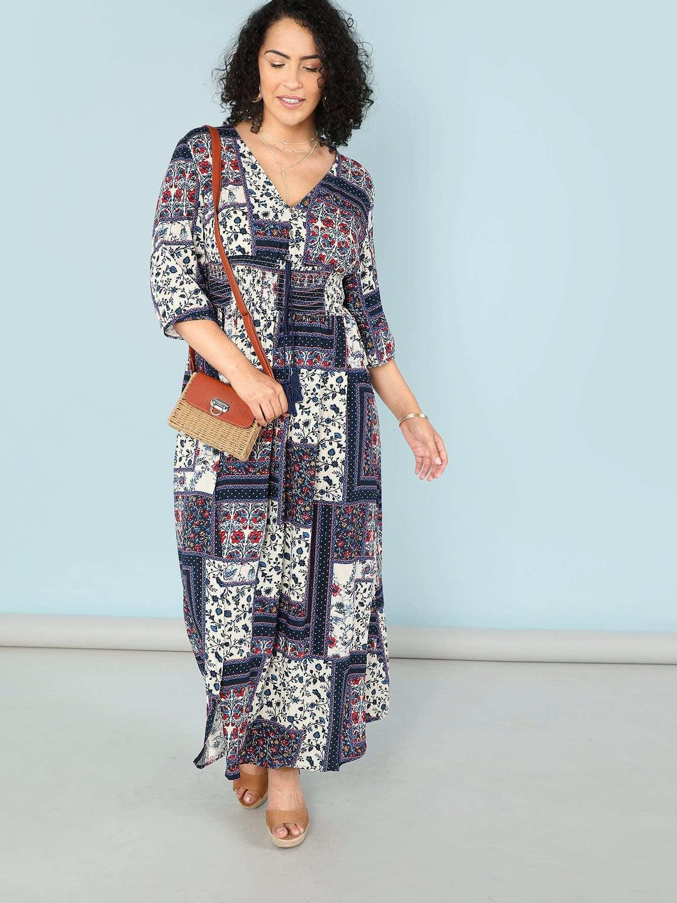 Купить Платье с v-образным воротником в цветочек, Brianna Ruiz, SheIn